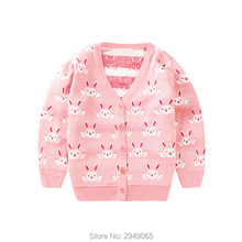 2017 spring costume girls' knitted cardigan sweater and sweater, the small bunny head V collar button sweater jacket