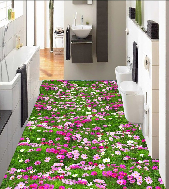 3 d pvc flooring custom wall sticker 3 d plant flowers and grass 3 d bathroom flooring painting photo wallpaper for walls 3d<br>