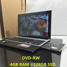 4G+128G SSD 15.6inch Quad Core Fast Surfing Windows 7/8.1 Notebook PC Laptop Computer with DVD ROM for school,office or home(China)