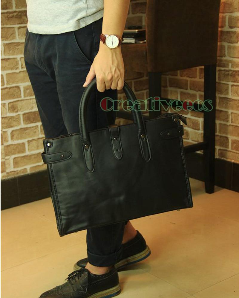 Korean Fashion Men PU Leather Travel Briefcase Business Laptop Cross Body Messenger Shoulder Handbag Tote Casual Bag Handbags<br>