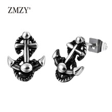 ZMZY Black Anchor Vintage Unisex Stainless Steel Stud Earrings For Men Jewelry Gift(China)