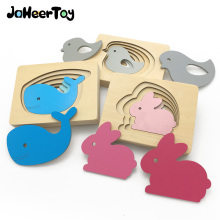 JaheerToy Baby Toys for Children 3D Puzzle Wooden Toy 3-4-5-6 Years for Kids Montessori Educational Gifts Animals(China)