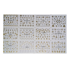 12 Designs Christmas Nail Art Stickers 3D Gold & Silver Metalic Snowflake Christmas Tree XMAS Nail Decorations(China)