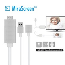 MiraScreen Wire+ HDMI Video Charging Cable Display1080P Dongle Sync Support Iphone 5s/6/6s/7/7plus Android to Monitor Projector(China)