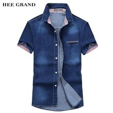 HEE GRAND 2017 New Style Free Shipping Men Short Sleeve Demin Shirt Main Cotton Material Summer Slim Fitted Male Shirt MCS677