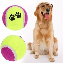 Pet Dog Tennis Ball with footprint Dog Natural Rubber special toy ball Pet Gnawing toys For small and mid dog(China)