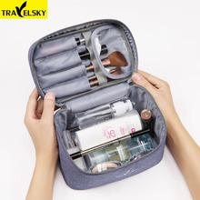 Travelsky New Arrival Travel Cosmetic Bag Women Waterproof Makeup Bag Men Cosmetics Case Portable Toilet Make up Zipper Bags(China)