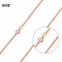 LINDAJOUX 2017 Romantic Rose Gold Color Box Chain Necklaces For Women Elegant Fashion Necklace Jewelry Wholesale 45cm TFSJ030