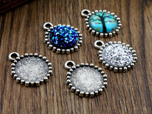 20pcs 12mm Inner Size Antique Silver Simple Style Cabochon Base Cameo Setting Charms Pendant (A2-04)(China)