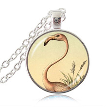 Pink Flamingo Pendant Necklace Charm Accessories Long Chain Sweater Necklace for Girls Women Bird Jewelry Animal Jewellery