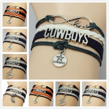 Infinity Love Dallas Cowboys Team Bracelets NCAA Football Imitation Leather Suede Bracelets Bangle Gift Customized Drop Shipping