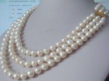 Free shipping >>>>>>Charming 3 Row Natural 9-10mm AA++ White South Sea Pearl Necklace AAAA+