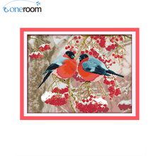 oneroom Bullfinch and Red Fruits Counted Cross Stitch DIY 11 14CT Animal Cross-Stitch Kits Home Decor Embroidery Needlework