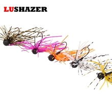 LUSHAZER tungsten fishing weights hooks rubber jig 3.5g lead jig head fishing hook anzuelos acero carbono fishing accessories(China)