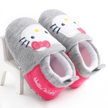 Girls Pink Hello Kitty Bow Kids Moccasins Children Shoes Soft Cotton Newborn Chaussure Baby Boots Booties Sapatinho bebe Sapatos