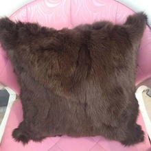 Alice fur Handmade home decorative dark brown real rabbit fur cushion cover