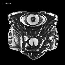 2016 2016 New Hot Men's boys Motorcycle Punk Ring Engine Rumble 316L Stainless Steel Biker Racer Rider Mechanic Ring