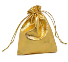 Free Shipping 100pcs Gold Tone Satin Gift Bags With Drawstring 12x9cm