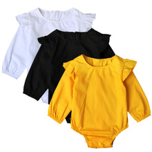 QUIKGROW So Fashion Baby Girl Romper Long Sleeve Nice Sewed Shoulder Yellow&White&Black Newborn Infant One-piece Clothes NY62PF
