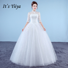 Buy It's Yiiya Plus Size New High Neck Half Sleeves Sequins A-line Wedding Dresses Red White Simple Lace Cheap Bride Frocks XXN180 for $37.91 in AliExpress store