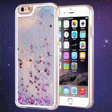 Hot ! Dynamic Liquid Glitter Sand Quicksand Star Phone Cases For iphone5 5S 6 6Plus Crystal Clear Back Covers For iphone 5S Case