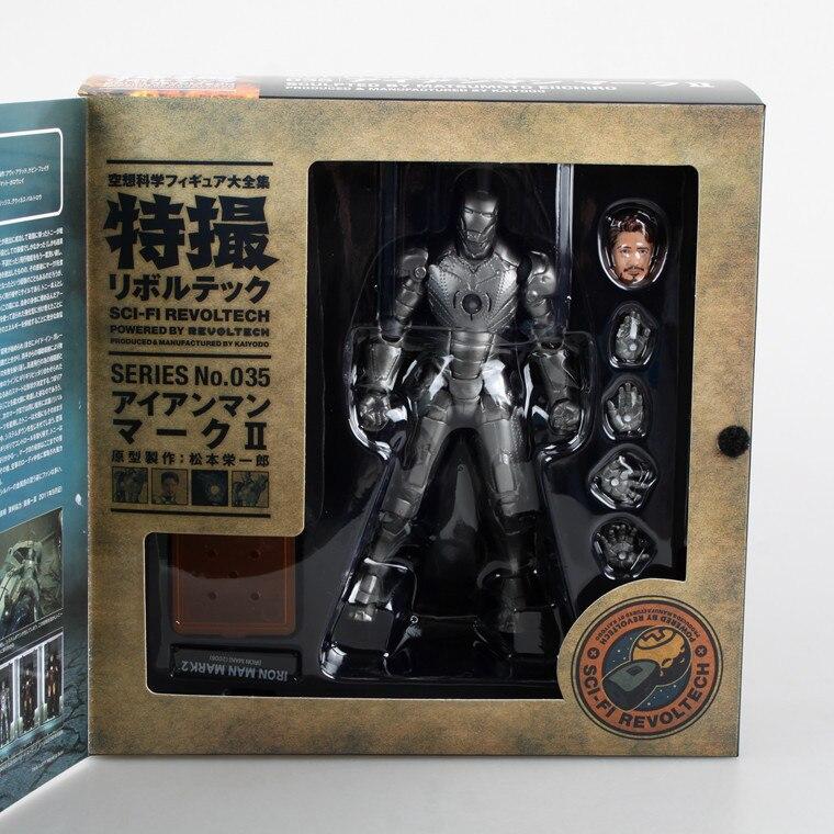 Free Shipping  Light Iron Man Action Figure Iron Man Mark II Series No.035 Doll PVC ACGN figure Toys Anime 15CM<br><br>Aliexpress