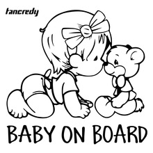 Tancredy BABY ON BOARD Car Stickers Baby Name Customize 14*15CM Car Body Window Decoration Car Styling Stickers and Decals 048