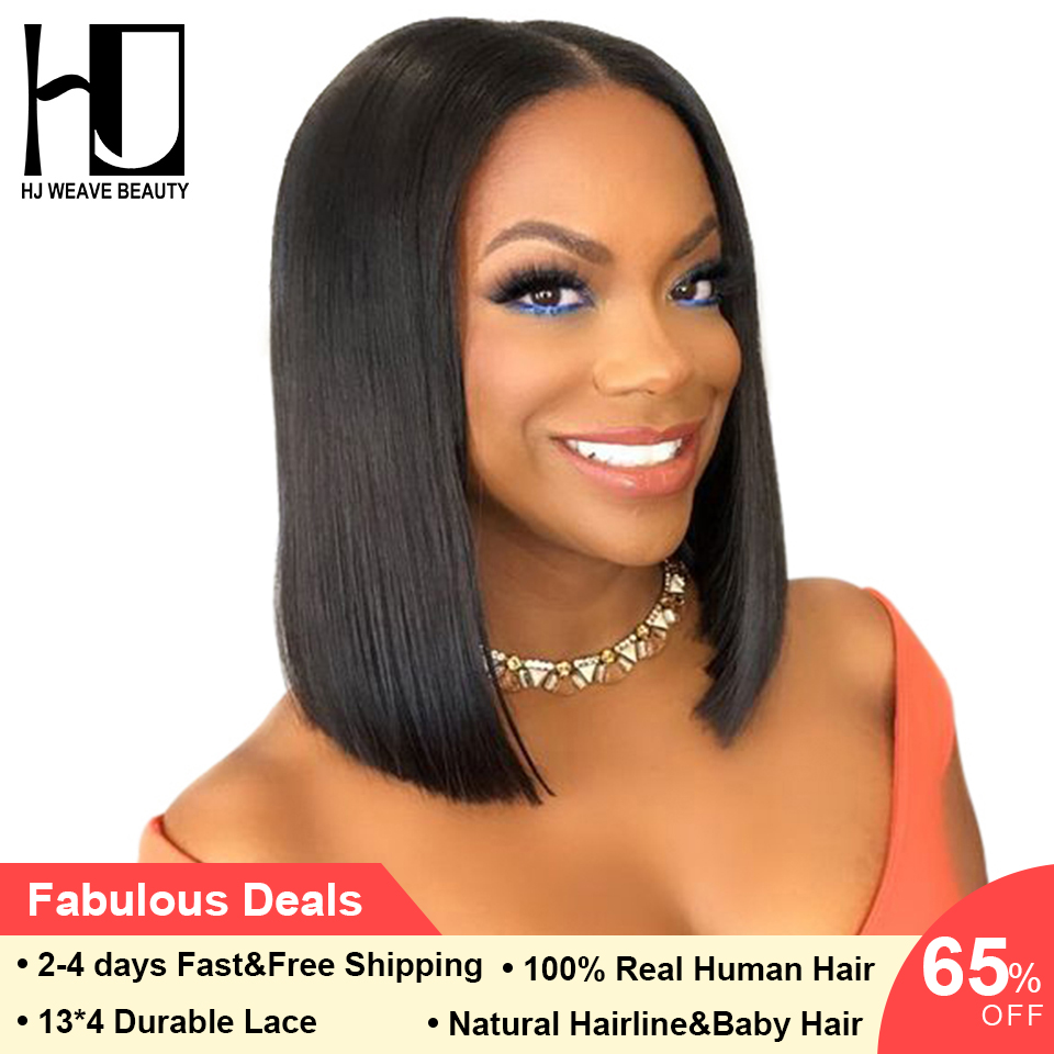 Short Lace Front Human Hair Wigs Brazilian Bob Wig with Pre Plucked Hairline Lace Wig For Black Women Remy Hair Middle Part (China)
