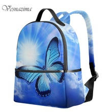 VZ fashion butterfly bag college backpacks school girls blue school bags oil painting back pack urban women's backpack WM584LH