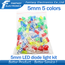 5Colors*20PCS=100PCS 5mm LED Diode Light Assorted Kit Green Blue White Yellow Red COMPONENT DIY kit new  original free shipping