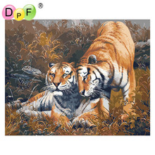 "DPF ""Close the tiger"" Oil Painting DIY Digital By Numbers color on canvas Acrylic Painting Unique Gift wall Decor artwork"