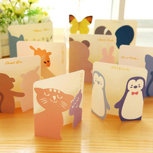 Lovely 20pcs/lot Mini Paper Greeting Card Gift Birthday Thank You Card Cute Cartoon Kids School Office Supplies Message Memo(China)