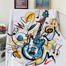 Blankets Cobertor Warmth Soft Plush Personalized Art Hand-painted Colorful Electric Guitar Lines Sofa Bed Thick Thin Throw