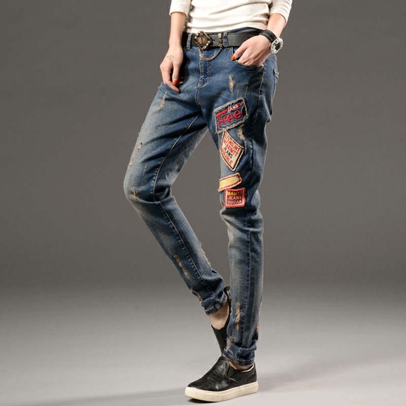New Spring  Women Jeans Ripped Harem jean Pants Vintage Jeans Patchwork Cross Denim Trousers Loose Jeans clothesОдежда и ак�е��уары<br><br><br>Aliexpress