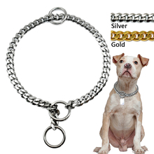 Slip Dog Chain Collar Stainless Steel Metal Dog Choke Training Collars 3mm Diameter Silver Gold Chrome For Medium Large Pitbull(China)