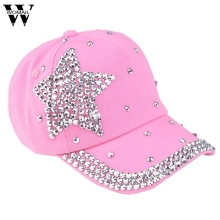 Amazing 5 Colors Fashion Children Kids Baseball Cap Rhinestone Star Shaped Boy Girls Snapback Hat Summer