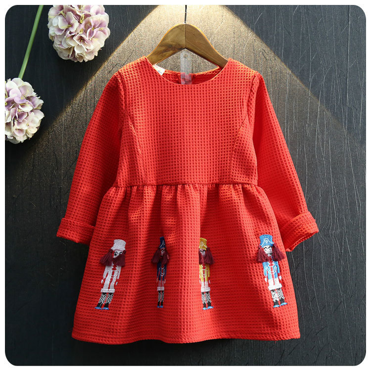 2016 Korean Childrens Garment Autumn New Pattern Girl Baby Embroidered Cartoon Embossed Long Sleeve Dress Girl Jacket<br>