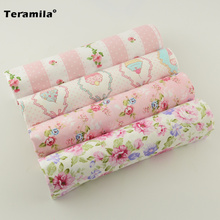 4 Pieces/lot Cotton Patchwork Twill Fabric Fat Quarter Materials Curtain Set Bedding teramila Child Table Deoration Cloth Sewing
