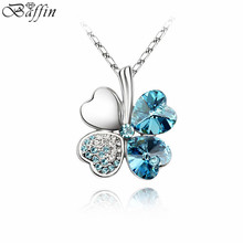 Classic Sweet Clover Pendant Necklaces for Women Crystal from Swarovski Elements Chain Collier Jewelry Best Friend Gift