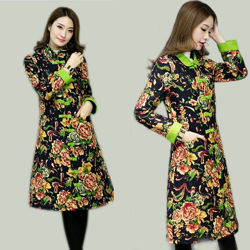 2017 Long Parkas Coat Plus size Womens clothing Plate buttons Long sleeve Wadded Jacket Vintage Print Outerwear SS650Одежда и ак�е��уары<br><br><br>Aliexpress