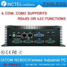 3.5 inch embedded industrial low power fanless widen industrial computer with Atom N2800 6 RS232 2 RTL8111E Gigabit LAN DC12V(China)