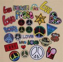 1 pcs patch Love Peace words embroidered iron on patches cloth accessories popular clothing bag hat shoe phone Patches Appliques(China)