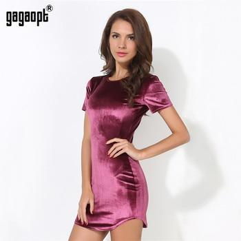 Gagaopt 2017 primavera o pescoço mulheres mini dress verão curto-luva sexy vestidos robe de vestidos vintage da moda elegante senhora roupas