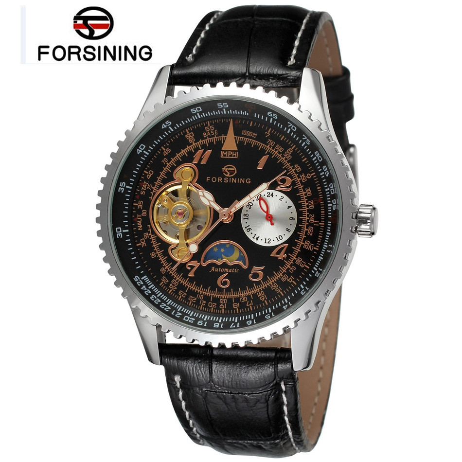 2017 New Forsining Automatic Mechanical Mens Black Dial Moonphase Leather Wrist Watch Free Ship<br><br>Aliexpress