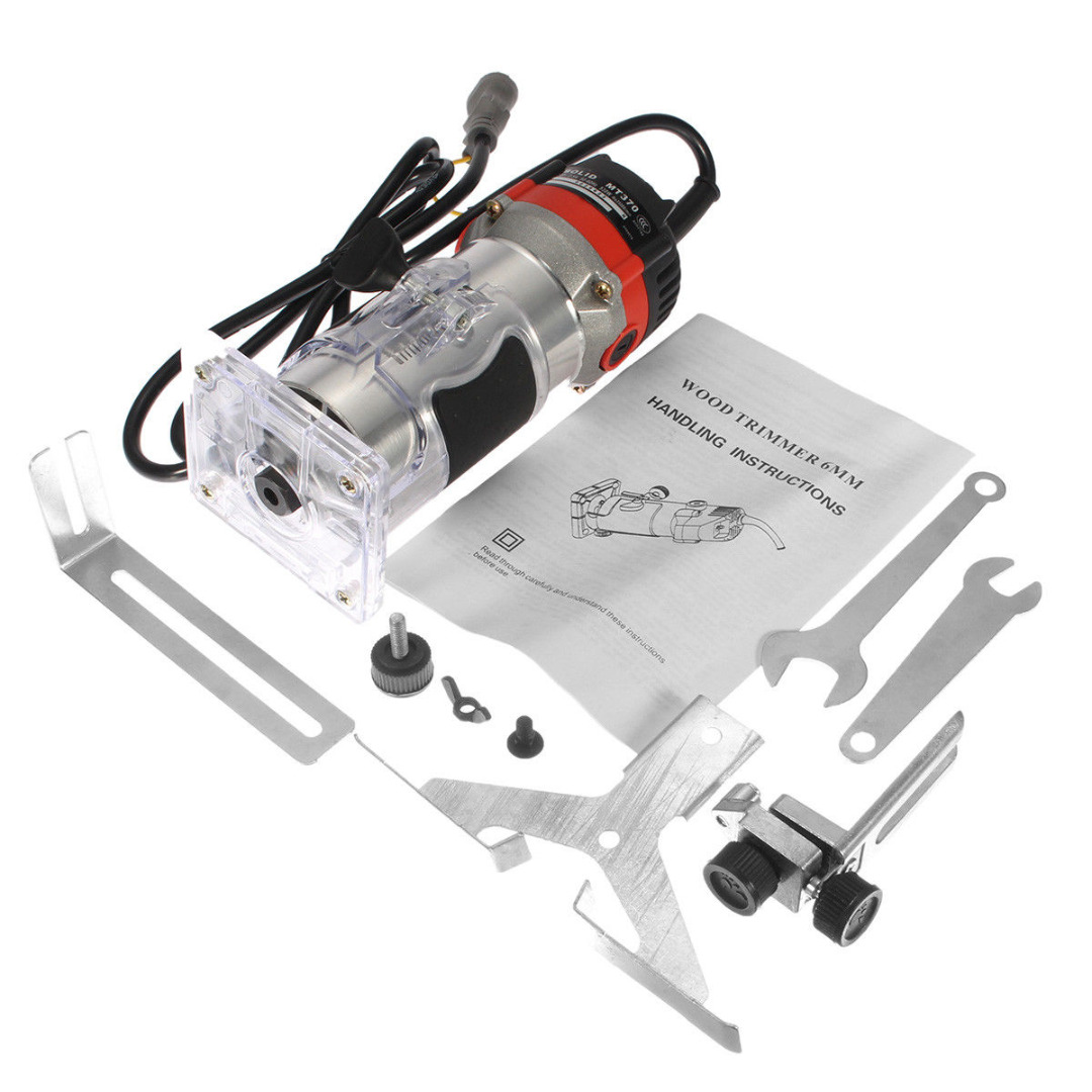 DWZ 220V 35000RPM 530W 1/4\'\' Electric Hand Trimmer Wood Laminator Router Tool Set