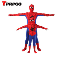 TPRPCO Spider Man Spiderman Mascot Costume Fancy Dress Adult And Children Halloween Costume Red with Blue(China)
