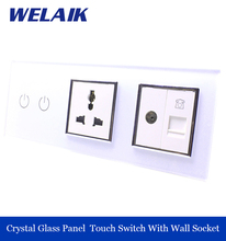 WELAIK 3 frame Crystal Glass Panel Multifunction Power Socket Touch Switch TV / Telephone socket 2gang1way  A39218MU8TVTPW/B