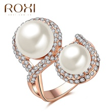 2017 New ROXI Milky Pearls Crystal Rings Rose Gold Color Wedding Beads Jewelry For Romantic Mother's Gifts For Women