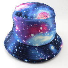 Outdoor Tourism Hat Lady UV Folding Rose Flora The Milky Way Pattern Hat Multicolor Optional Wide Brim Cap Woman Man Folding(China)
