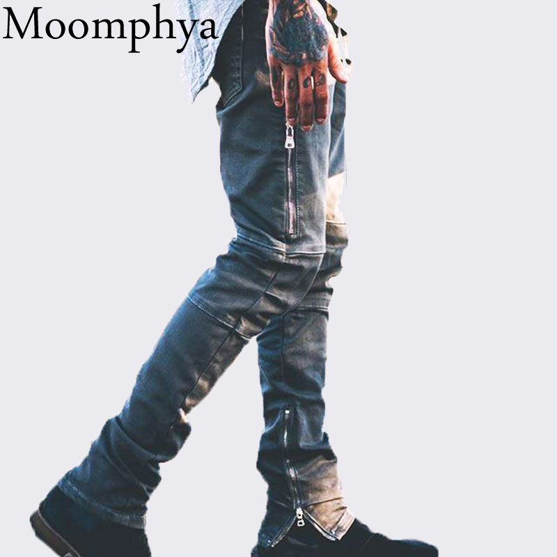 Moomphya 2018 New Men black zipper jeans Slim skinny hip hop biker denim jeans pants for men